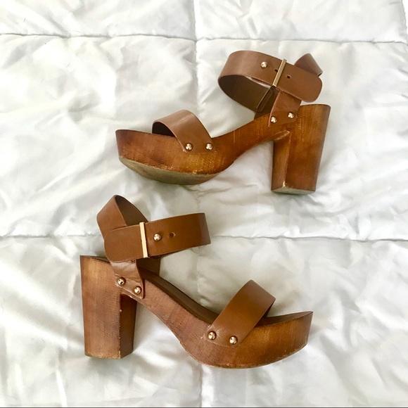 Tan Bamboo Wooden Block Heel Sandals